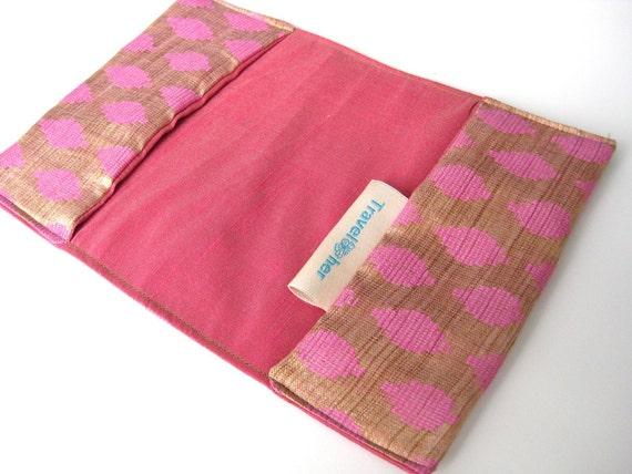 Pink passport cover. silk passport cover. pink gold passport holder