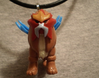 Pokemon Entei Charm Leather Necklace
