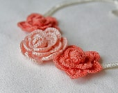 Crocheted Roses Necklace in Peach and Coral