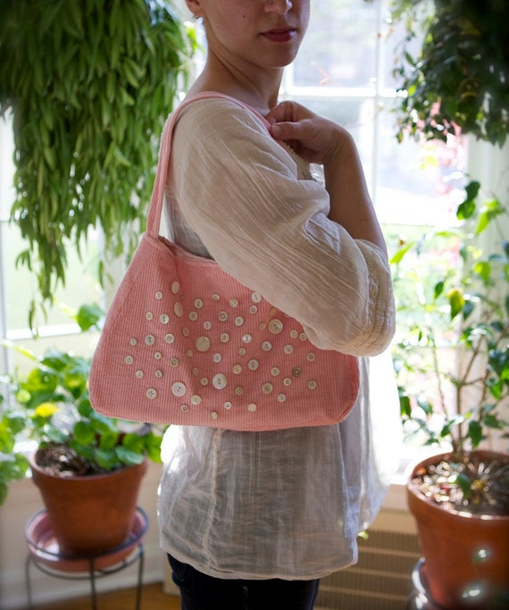 Corduroy Purse in Sweetheart Pink with Vintage Pearl Buttons