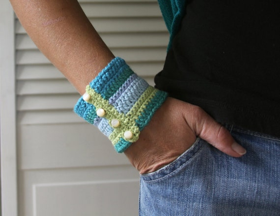 Striped Crochet Cuff Bracelet -- Tidepool