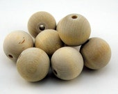 Reserved Listing for Virginie - Round Wooden Beads - unfinished 20mm 30 pieces