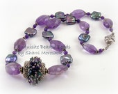 Reserved Listing for Debbi - Sale -  Beaded Bead Necklace seed bead weaving amethysts and pearls