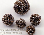 Beaded Beads woven peyote stitch - set of 5 beads for jewelry making