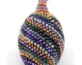 Mardi Gras Beaded Bead Pendant - sale reduced 60%