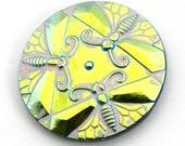 Czech Glass Cabachon - dragonflies - gold green pink mauve BK452B