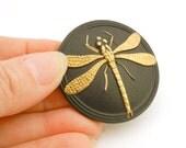 Button - modern Czech glass - black with golden dragonfly - BK31