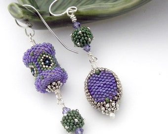 Asymmetrical Earrings - beaded bead art jewelry - purple sage green silver