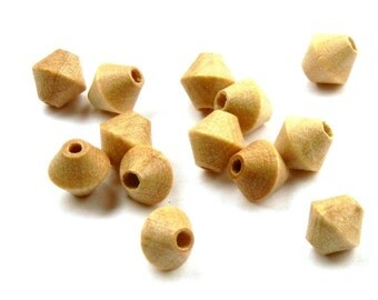 Vintage Czech wooden bicone beads - natural cream - 8 x 8mm - 50 pieces