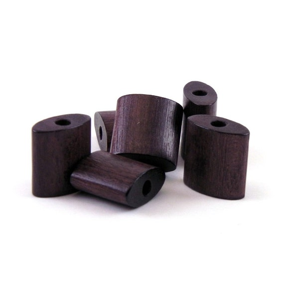 Flattened Square Wood Beads - deep brown 10 pieces