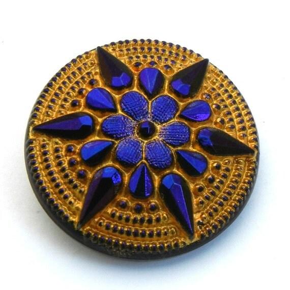 Czech Pressed Glass Button - cobalt blue and gold flower starflower BK342