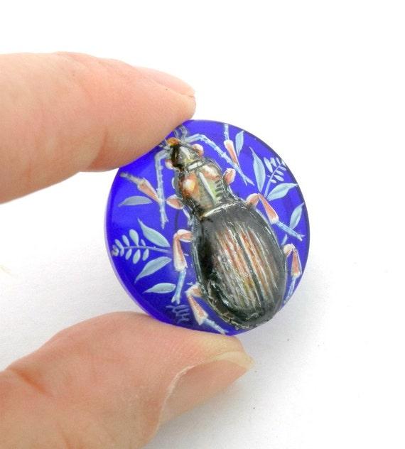 Scarab Beetle Hand Painted Czech Glass Button - vintage style -   cobalt blue - BK456