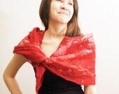 Nuno Felted cobweb  Scarf, Wrap  Red,  Collar Warmer OOAK, Art to wear