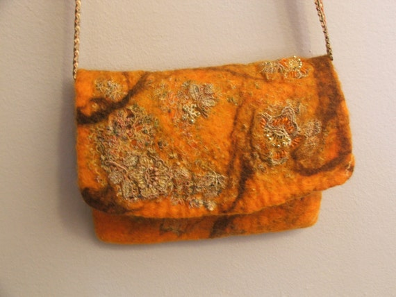 Nuno felt wool Clutch  OOAK  wool  and lace Art for Special Occasion, Tangerine Tango