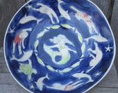 Reserved for Kait: Big Sea Dark Blue Mermaid Blue Awash with Swimmers, Dolphins and Turtle