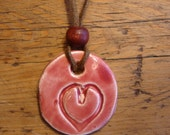 Whole Red Heart Pottery Necklace