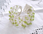 Boho wedding bracelet, Crochet Green Peridot Gemstone Summer Bridal Jewelry, Lace Silver, August birthstone, Bridesmaids Maid of honor gift