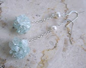 Aquamarine Cluster Earrings Sterling Silver Wire Crochet Long Blue Handmade Wedding Fashion Unique Mother's day gift