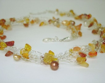 Orange Crochet Necklace, June birthstone, Citrine gemstone Necklaces, Sterling Silver, Carnelian White Gold Pearls,
