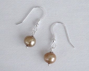 Bridal Earrings Summer Fashion Minimalist Champagne Pearls Sterling Silver Petite and sweet bridesmaids gift