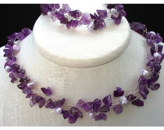 Amethyst Necklace, Pearl Silver Wire Wrapped Jewelry, Delicate Romantic Lavender gift for her pearl Provence natural Birthstone Gem Wedding