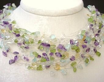 Unique Pastel necklace gemstone necklace, Wire wrapped Natural Birthstone Jewelry Handmade Silver Purple Amethyst Peridot Aquamarine Citrine