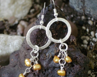 Orange Pearl June birthstone earrings, Brushed Sterling Silver Earrings Geometric Circle Yellow Gold Real Pearl Fall Fashion Wedding