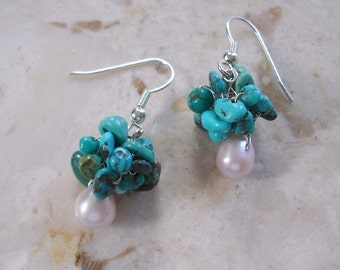 Turquoise Cluster Earring Crochet Knitted Sterling Silver Wire Turquoise stone boho wedding shabby chic bridesmaids gift
