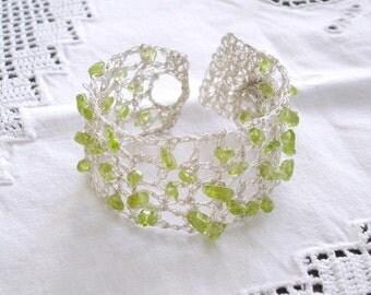Boho wedding bracelet, Crochet Green Peridot Gemstone Summer Bridal Jewelry, Lace Silver, August birthstone, Bridesmaids Maid of honor gift