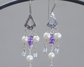 Amethyst Purple birthstone Wedding Earrings Grey Labradorite real Pearl / Triangle Silver Natural jewelry accessories