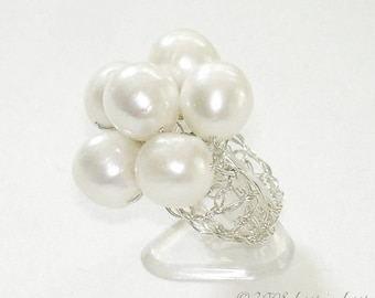 White Pearl Ring, Summer Wedding Fashion, Hand Crochet Lace, Sterling Silver Cluster Ring with 6 large Pearls