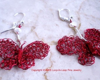 Hand Crocheted, Red Butterfly Earrings, Handmade Holiday Fashion, Enameled Wire Sterling silver Raspberry Red