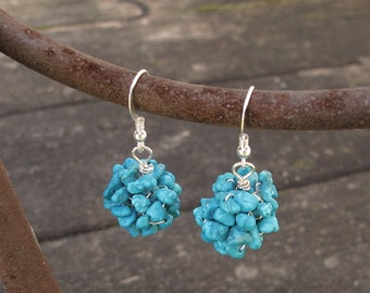 Turquoise Cluster Earring, Summer wedding, Bridesmaids Gift, Crochet Knitted, Silver, gemstone, boho, shabby chic, birthstone jewelry