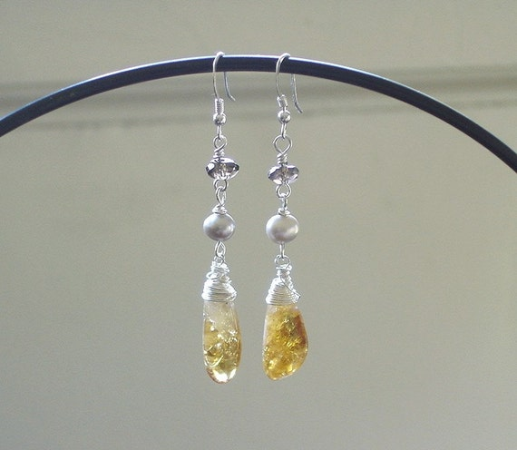 Orange Jewelry Earrings, Summer Fashion Shabby Chic Rustic Wire wrapped Sterling Silver Dangle with Citrine Smokey Quartz Freshwater Pearls
