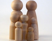Wooden Peg Doll People Large Family - Paint Your Own Wood Dolls