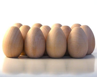 Dozen Wood Easter Eggs Medium Size - Decorate it Yourself -
