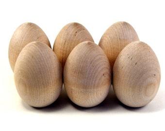Half Dozen Wood Eggs, Large - Decorate it Yourself