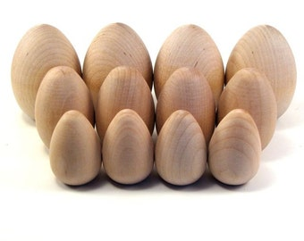 Dozen Wood Eggs, Three Sizes - Decorate it Yourself