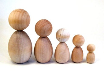 Wooden Kokeshi Dolls - DIY - Family of Five Different Sizes - Ready To Paint Wooden Kokeshi Dolls