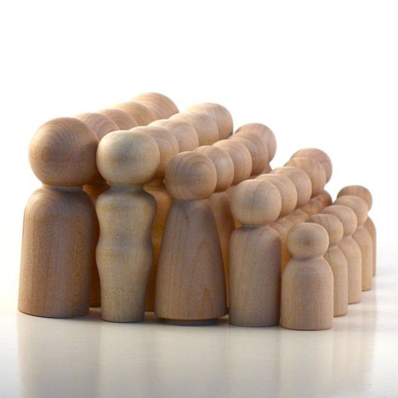 Wooden Peg Dolls - Unfinished- Five Families of Five - Paint Your Own Wood Dolls