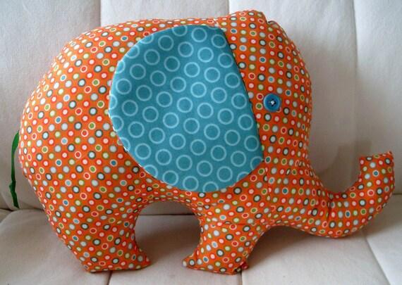 Peanuts the Elephant - Orange Dots with Teal Ears
