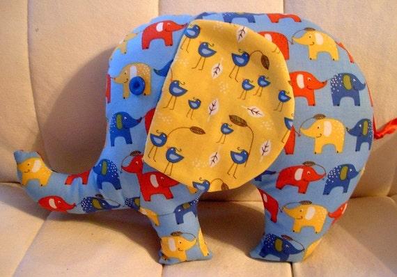 SALE SALE SALE - Peanuts the Elephant - Blue and Yellow Elephants