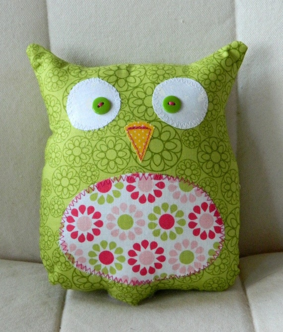 Ollie the Owlet - Stuffed Owl - Lime Green with Flower Belly