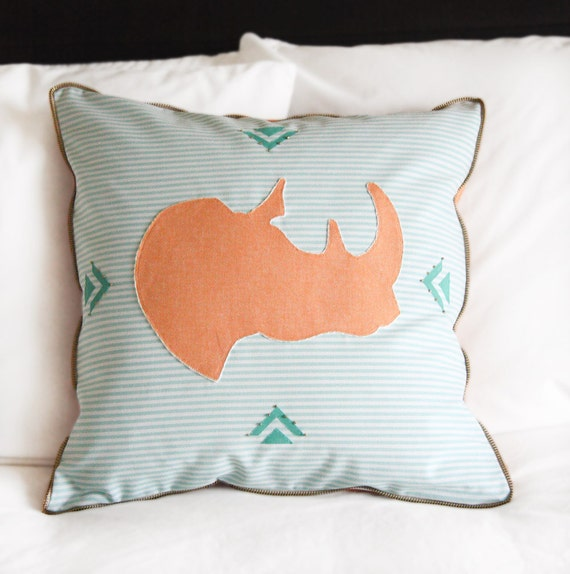 SALE Mint and Creamsicle Pillow - Ringo the Rhinoceros Appliqued Hand Beaded Pillow