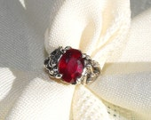 Art Noveau Style Natural  Ruby and Sterling Silver Ring. Red Ruby set in an Art Noveau style setting. Recycled Sterling Silve. Natural Stone