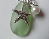 Seafoam Sea Glass and Starfish Necklace--STARFISH BAY