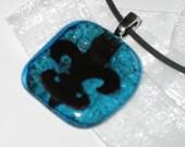 Fleur de Lis Fused Glass Pendant with Copper Inclusion Necklace Bonus Pendant with Each Order