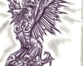 Ink Art Drawing of Winged Vixen