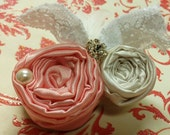 Dainty Light Pink and White Rosette Hair Clip