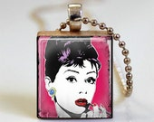 Audrey Hepburn Necklace Breakfast at Tiffany's Holly Golightly Scrabble Tile Pendant with Ball Chain Necklace Included (ITEM S477)